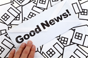 Good News and Home Sign, concept of Success